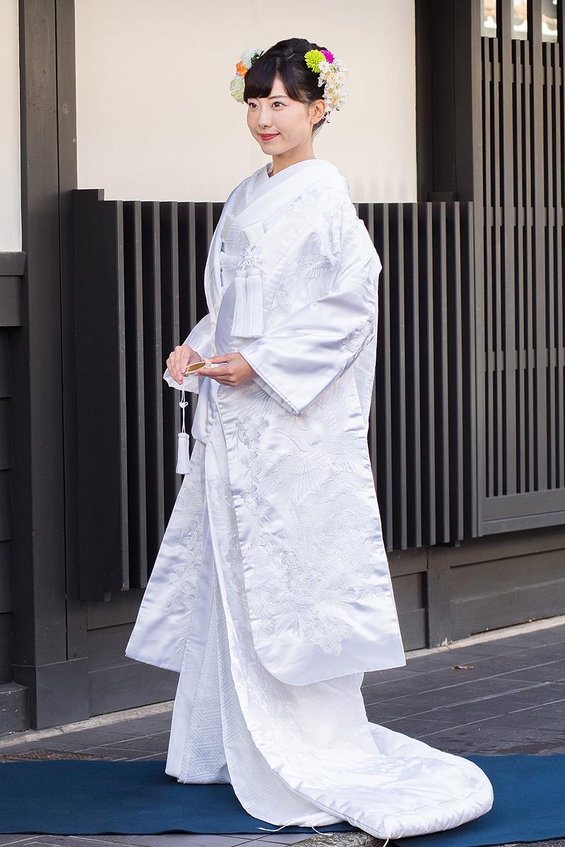 刺繍 枝垂れ桜鶴に御所