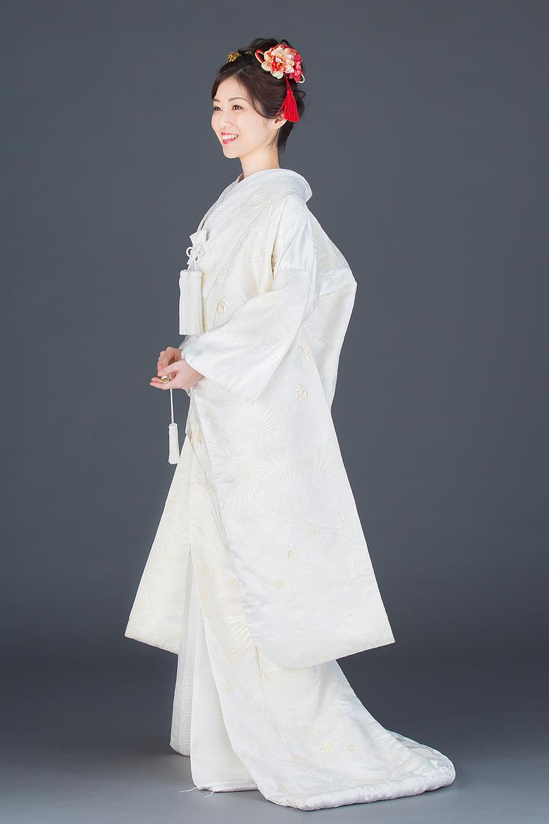 刺繍カトレアに鶴(化繊)