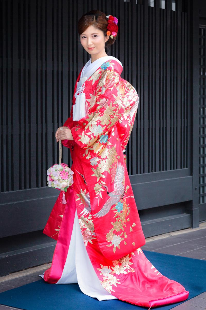 二重紗赤枝垂れ桜に鶴