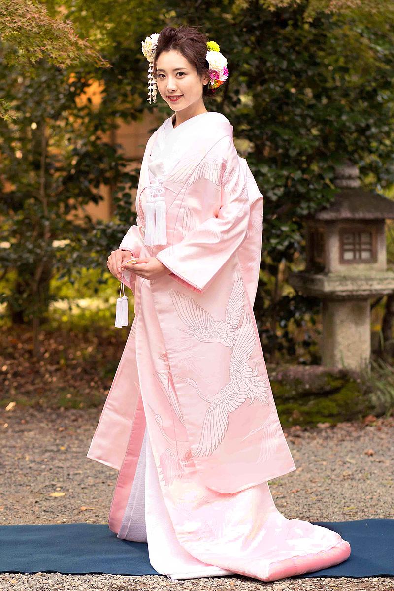 ピンク銀糸刺繍鶴