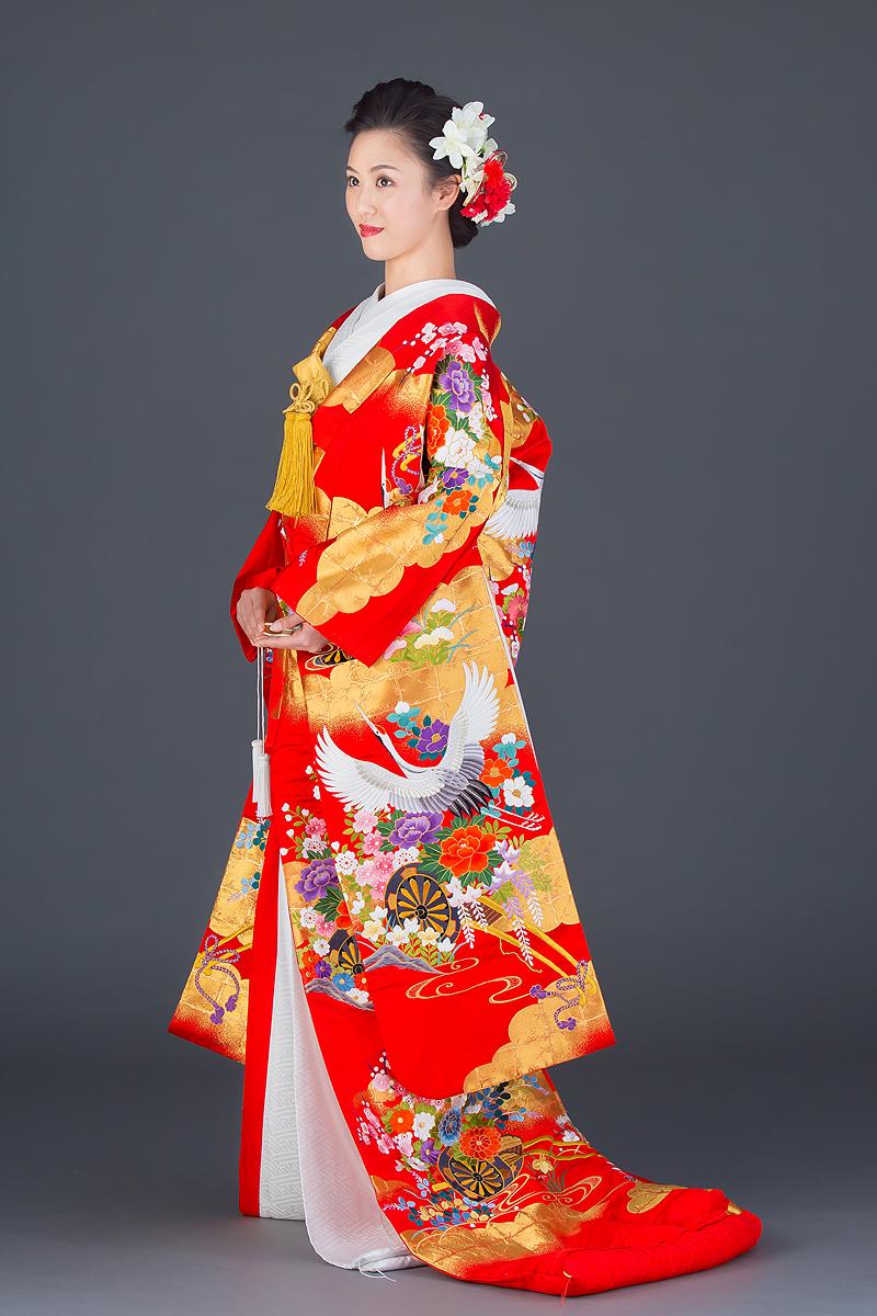 緞子刺繍花車に鶴