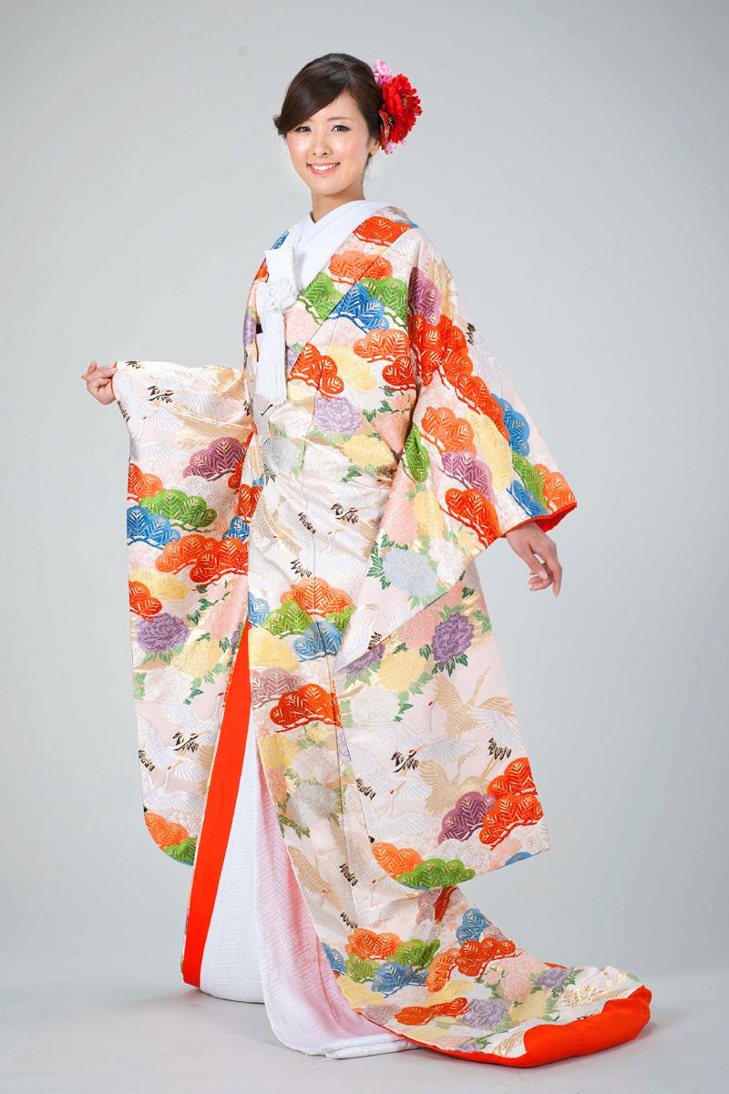 薄桃色唐織松に鶴